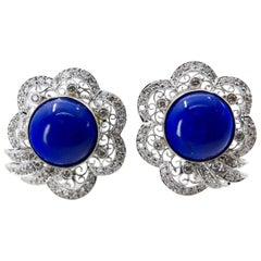 Royal Blue Lapis Lazuli and Diamond Earrings with Natural Gold Veins and Spots