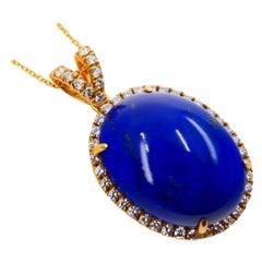 Royal Blue Lapis Lazuli & Diamond Pendant Drop Necklace, Gold Veins & Gold Spots