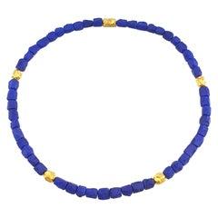 Royal Blue Lapis Lazuli Nugget Beaded Necklace with 18 Carat Mat Yellow Gold