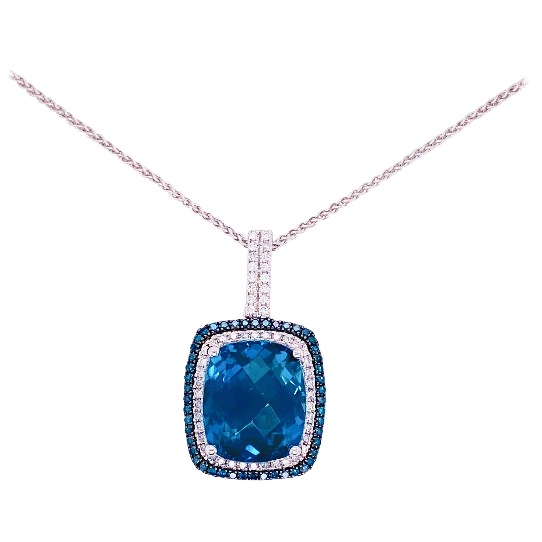 Royal Blue Necklace 10 ct  Blue Topaz, London Blue Topaz and Diamonds, Necklace