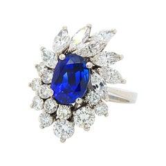 Royal Blue No-Heat Burma Sapphire and Diamond Ring