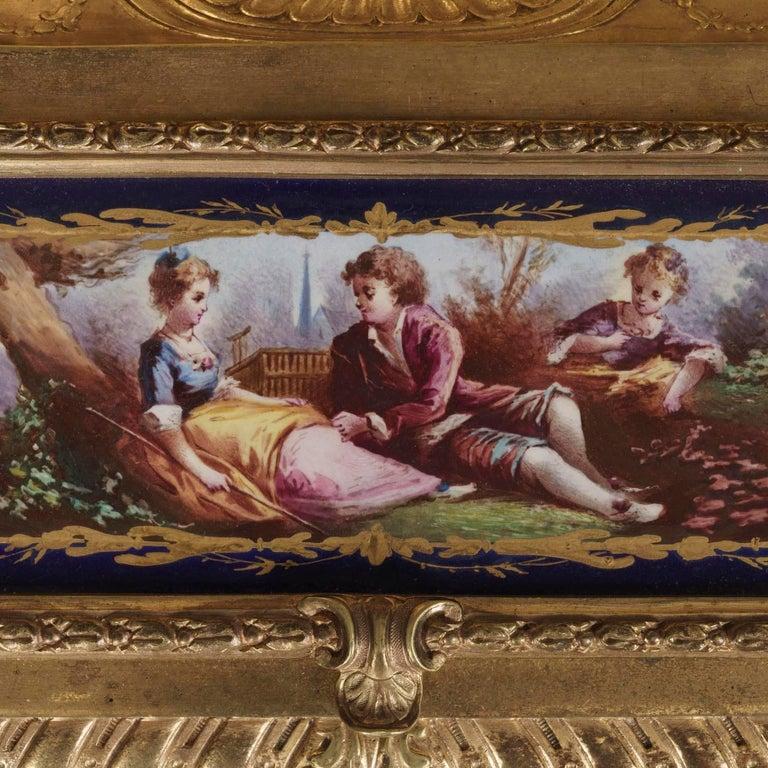 French Royal Blue Porcelain and Gilt Bronze Ensemble De Bureau in the Louis XVI Taste For Sale