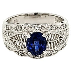 Royal Blue Sapphire and Diamond White Gold Engagement Ring