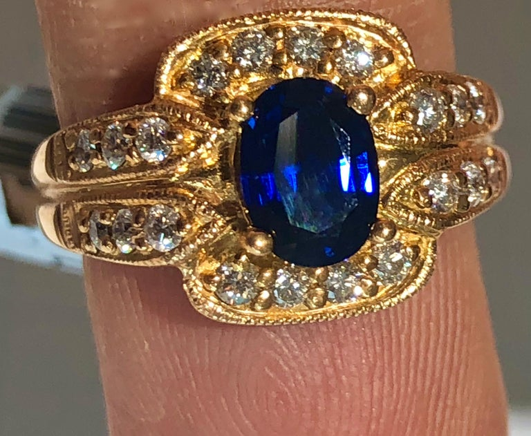 Art Deco Royal Blue Sapphire and Diamonds Ring 18 Karat Rose Gold For Sale