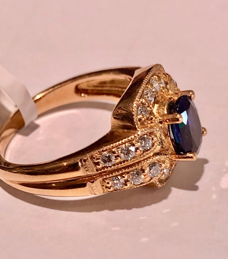 Oval Cut Royal Blue Sapphire and Diamonds Ring 18 Karat Rose Gold For Sale