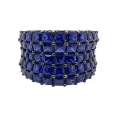 Royal Blue Sapphire Cigar Band Cocktail Ring in 18k White Gold