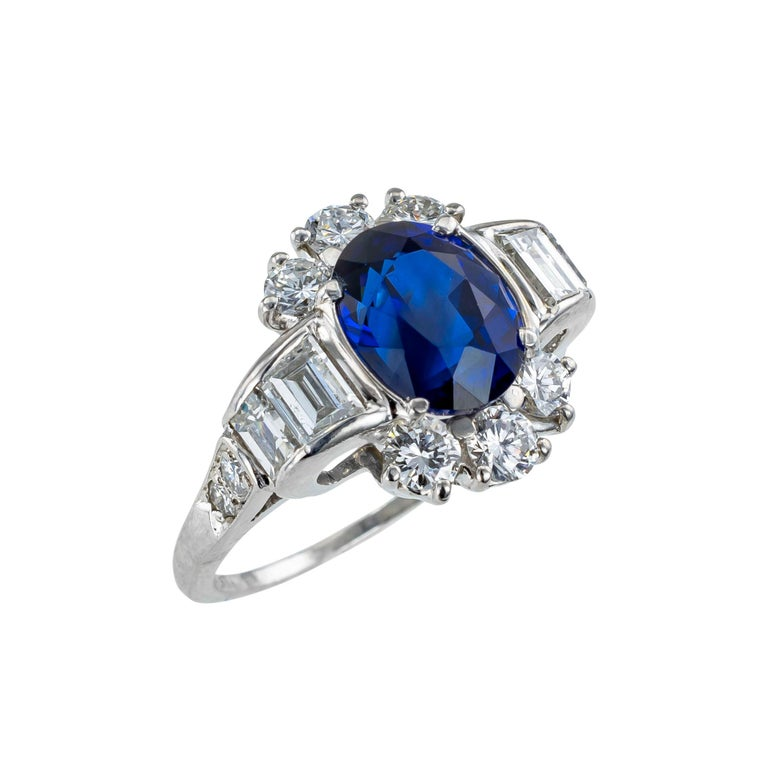 GIA certified Royal Blue sapphire diamond and platinum ring circa 1950.  Clear and concise information you want to know is listed below.  Contact us right away if you have additional questions.  We are here to connect you with beautiful and