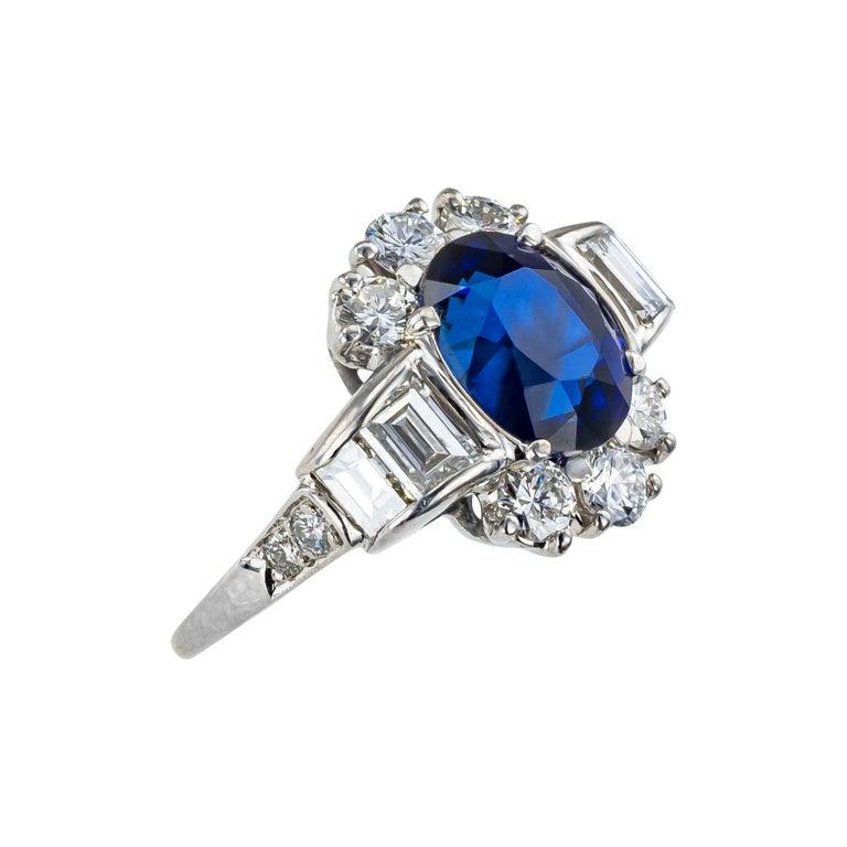 Modern Royal Blue Sapphire Diamond Platinum Ring For Sale