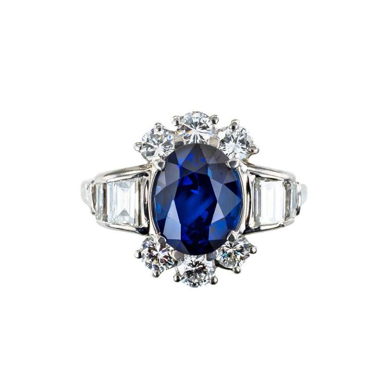 Oval Cut Royal Blue Sapphire Diamond Platinum Ring For Sale
