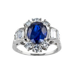 Royal Blue Sapphire Diamond Platinum Ring
