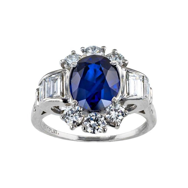 Royal Blue Sapphire Diamond Platinum Ring For Sale