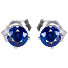 Royal Blue Sapphire Earrings Studs