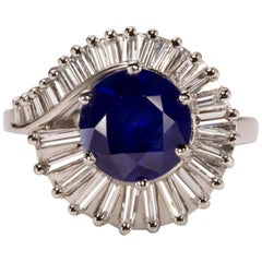 Royal Blue Sapphire G-H VS Diamond Cocktail Ring Platinum