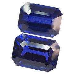 Royal Blue Sapphire Match Pair of Emerald Cut from Sri Lanka
