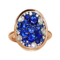 Royal Blue Sapphire, Rose-Cut & Briljant-Cut Diamond Pave Mosaic Ring