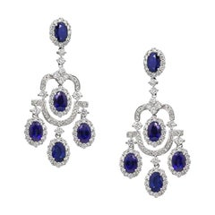 Royal Blue Sapphire White Diamond White Gold 18 Karat Dangle Earrings