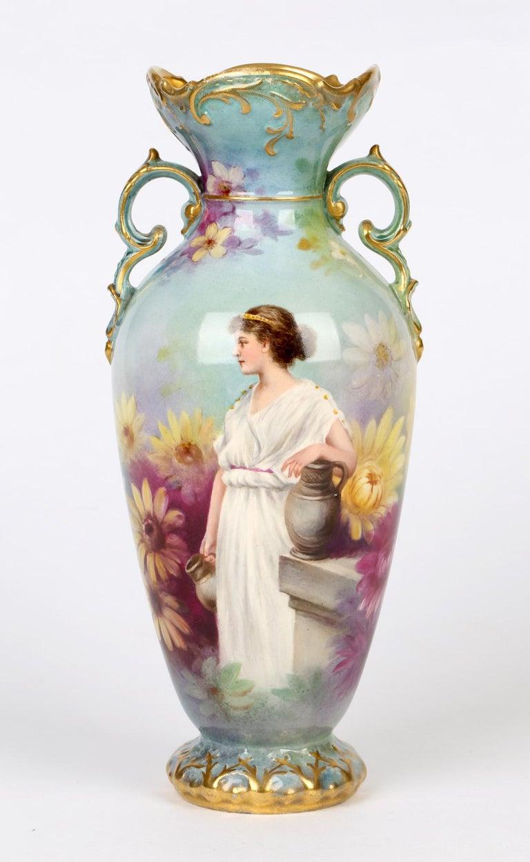 Royal Bonn German Art Nouveau Painted Vase with Female Water Carrier by J Dűren 10