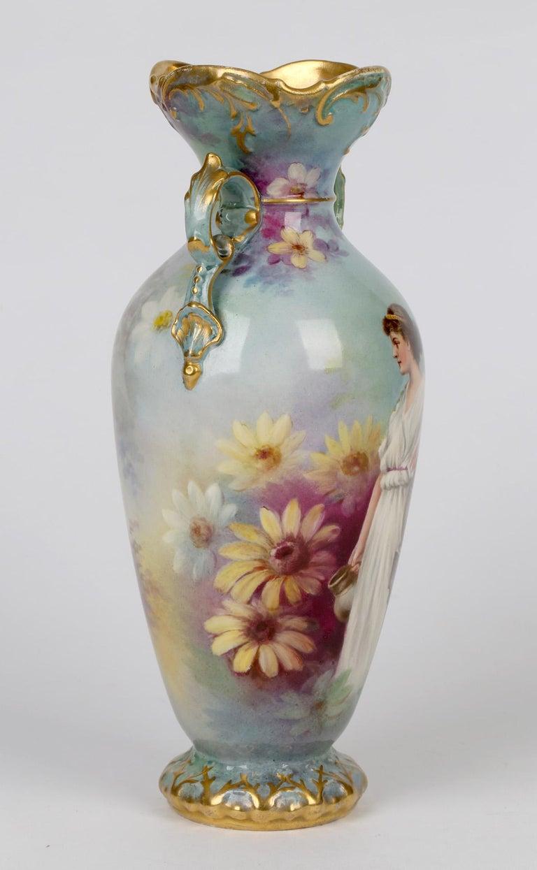 Hand-Painted Royal Bonn German Art Nouveau Painted Vase with Female Water Carrier by J Dűren