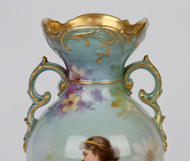 Royal Bonn German Art Nouveau Painted Vase with Female Water Carrier by J Dűren In Good Condition In Bishop's Stortford, Hertfordshire