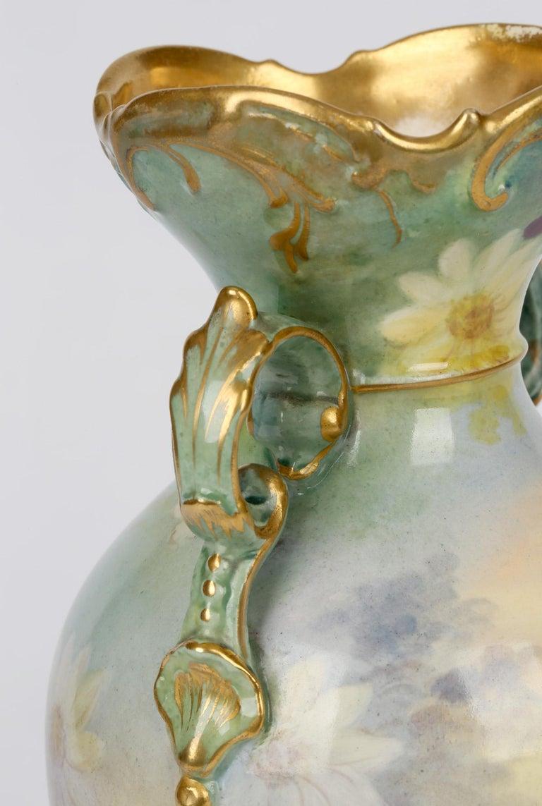 Early 20th Century Royal Bonn German Art Nouveau Painted Vase with Female Water Carrier by J Dűren