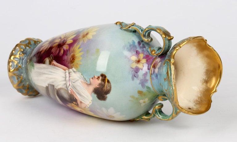 Pottery Royal Bonn German Art Nouveau Painted Vase with Female Water Carrier by J Dűren