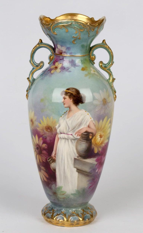 Royal Bonn German Art Nouveau Painted Vase with Female Water Carrier by J Dűren 1
