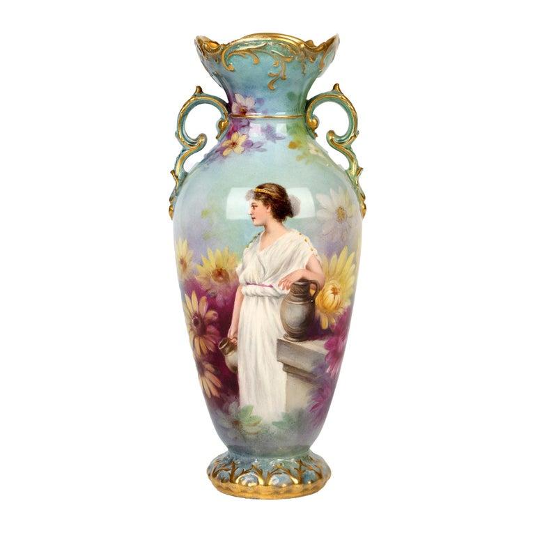 Royal Bonn German Art Nouveau Painted Vase with Female Water Carrier by J Dűren