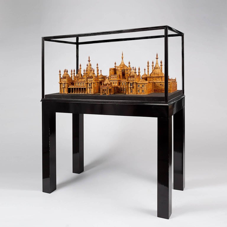 Made in the 1960s from over 40,000 matchsticks by Bernard Martell. The artist spent over 1700 hours meticulously reproducing the architectural splendor of the Brighton Royal Pavilion in a 1:100 scale model. It was first exhibited at Marlborough
