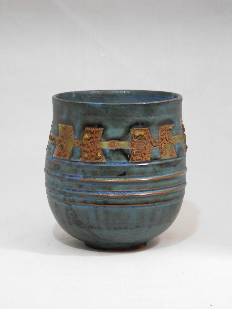 Wheel thrown Royal Canyon earthenware vessel by ceramicist Andrew Wilder. This is a one of a kind object made in the ancient way- by hand in a small artisanal pottery. In this series Wilder explores the application of lichen under glazes to achieve