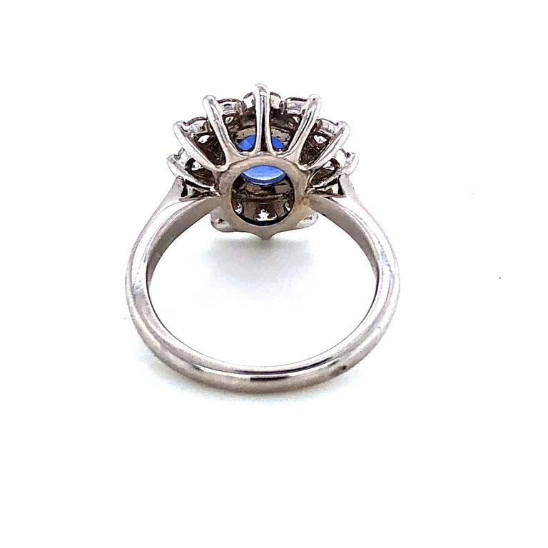 Artisan Royal Ceylon Sapphire and White Diamonds on White Gold Engagement Ring For Sale