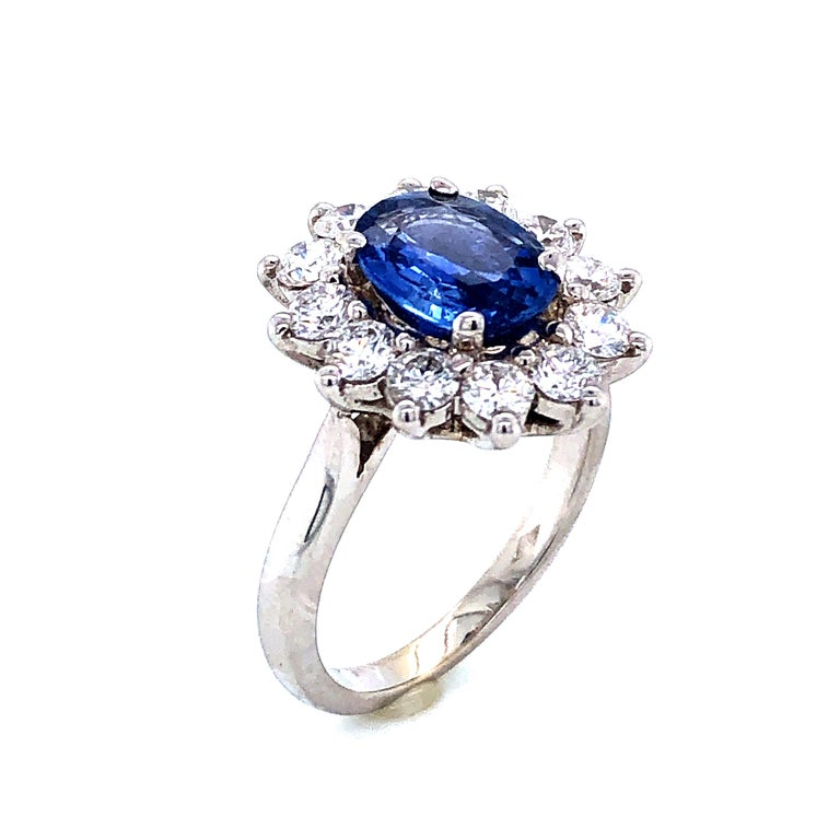 Brilliant Cut Royal Ceylon Sapphire and White Diamonds on White Gold Engagement Ring For Sale