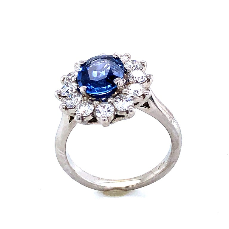 Women's Royal Ceylon Sapphire and White Diamonds on White Gold Engagement Ring For Sale