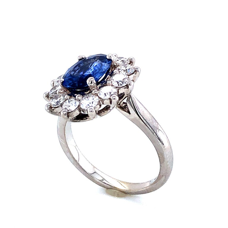 Royal Ceylon Sapphire and White Diamonds on White Gold Engagement Ring For Sale 1