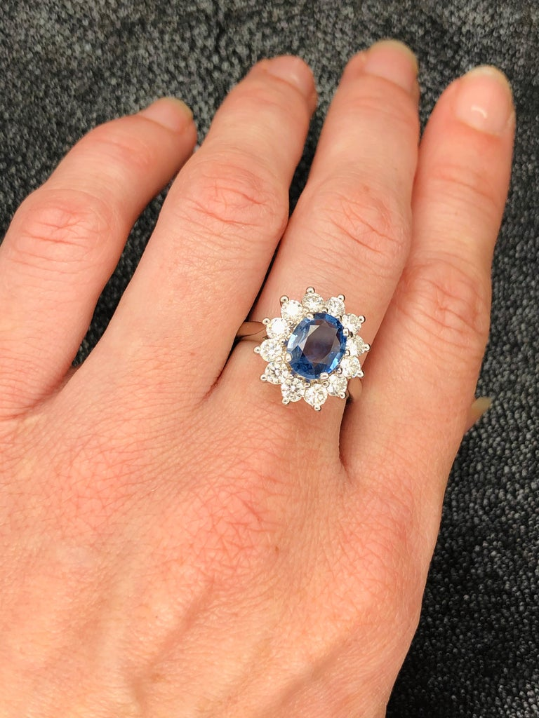Royal Ceylon Sapphire and White Diamonds on White Gold Engagement Ring For Sale 2