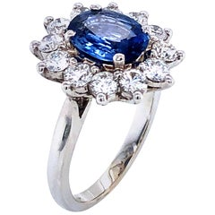 Royal Ceylon Sapphire and White Diamonds on White Gold Engagement Ring