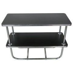 Royal Chrome Side Table with Black Top