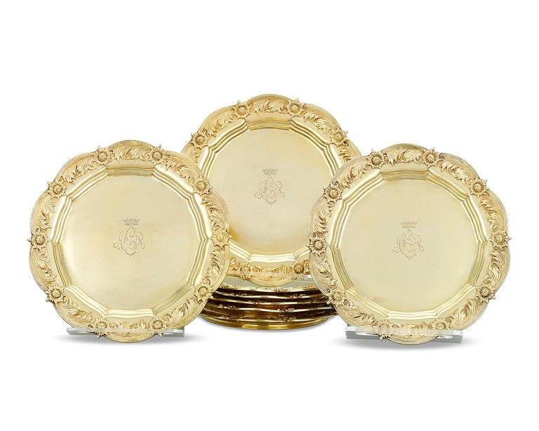 American Royal Chrysanthemum Silver Gilt Salad Plates by Tiffany & Co. For Sale