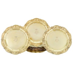 Royal Chrysanthemum Silver Gilt Salad Plates by Tiffany & Co.