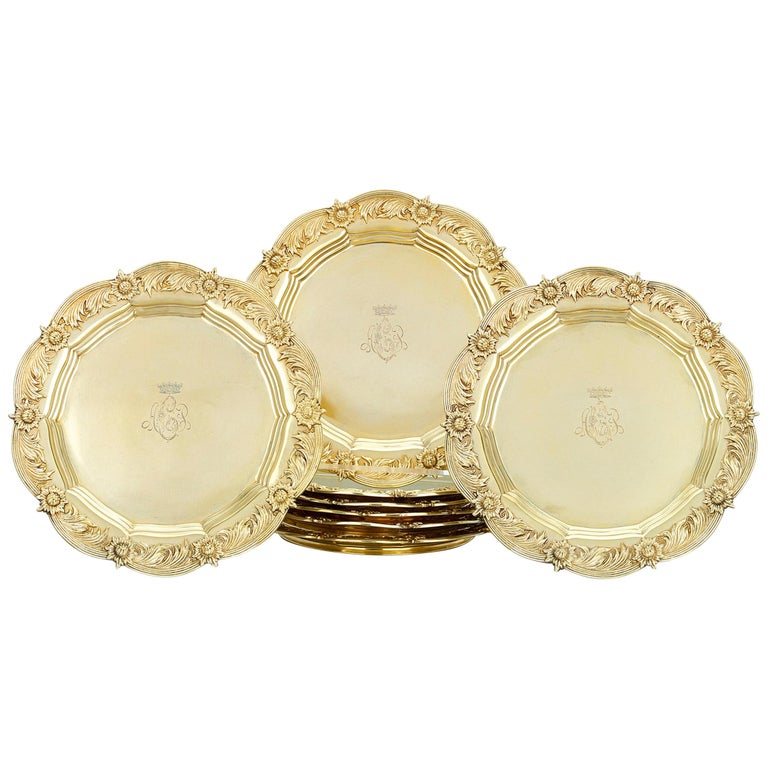 Royal Chrysanthemum Silver Gilt Salad Plates by Tiffany & Co. For Sale