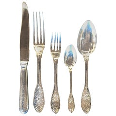 Royal Cisele by Christofle Flatware Service for Sixteen, Five Piece Place Set.