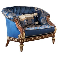 Royal Classic Blue Armchair in Damask and Walnut Finish by Modenese Interiors