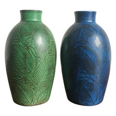Royal Copenaghen Couple of Scandinavian Blue Green Ceramic Vases, circa 1945