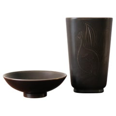 Royal Copenaghen Scandinavian Midcentury Ceramic Vase and Bowl Set, 1950s