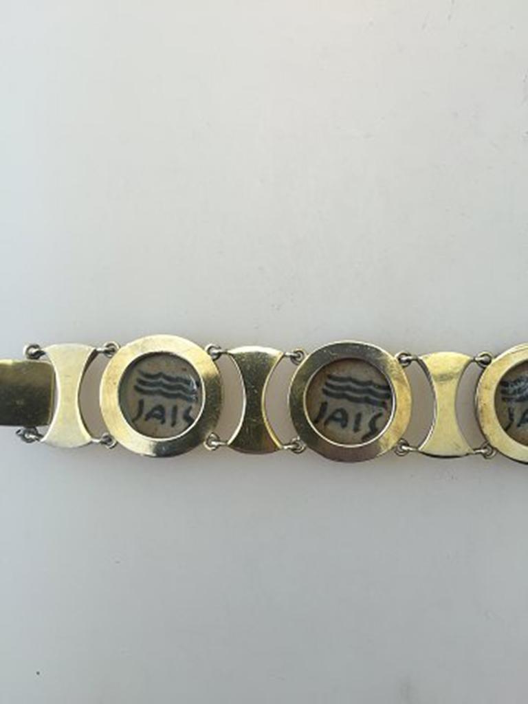 Modern Royal Copenhagen A. Dragsted Jais Nielsen Sterling Silver and Porcelain Bracelet For Sale