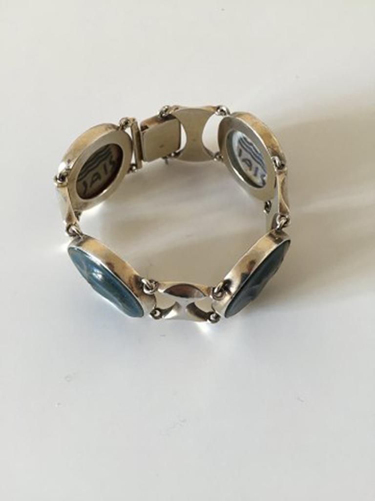 Women's or Men's Royal Copenhagen A. Dragsted Jais Nielsen Sterling Silver and Porcelain Bracelet For Sale