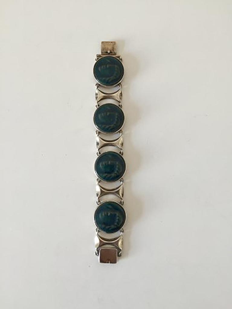 Royal Copenhagen A. Dragsted Jais Nielsen Sterling Silver and Porcelain Bracelet For Sale 1