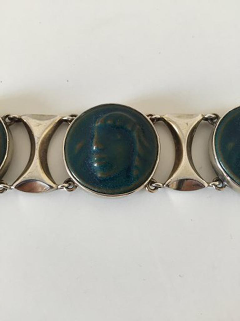 Royal Copenhagen A. Dragsted Jais Nielsen Sterling Silver and Porcelain Bracelet For Sale 2