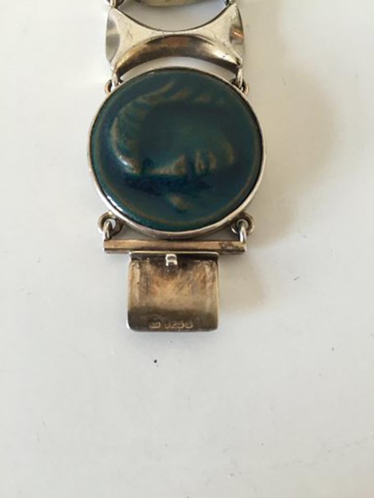 Royal Copenhagen A. Dragsted Jais Nielsen Sterling Silver and Porcelain Bracelet For Sale 3