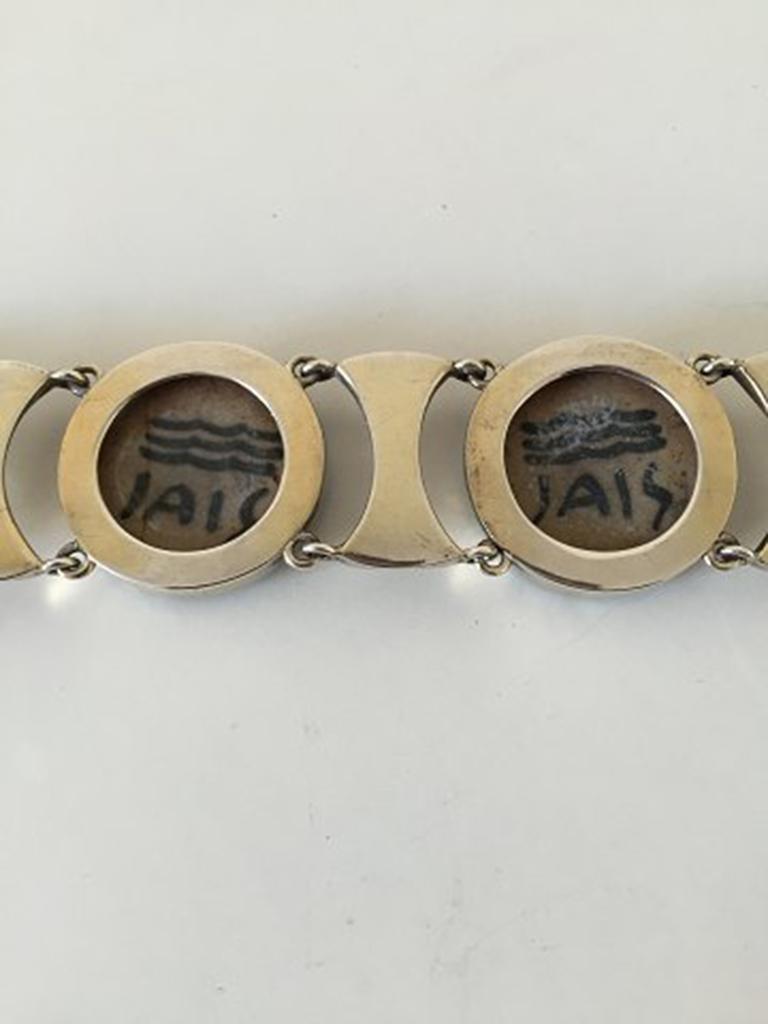 Royal Copenhagen A. Dragsted Jais Nielsen Sterling Silver and Porcelain Bracelet For Sale 4