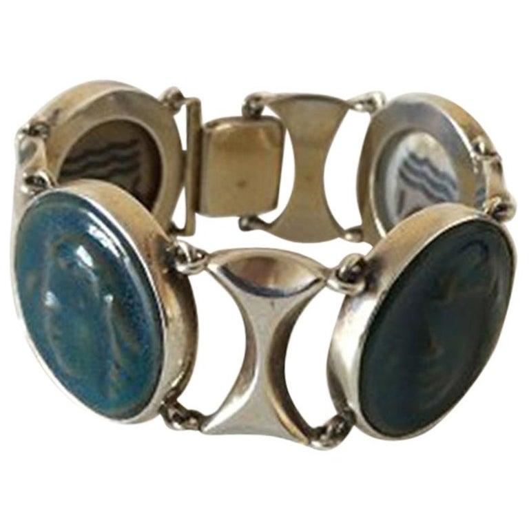 Royal Copenhagen A. Dragsted Jais Nielsen Sterling Silver and Porcelain Bracelet For Sale